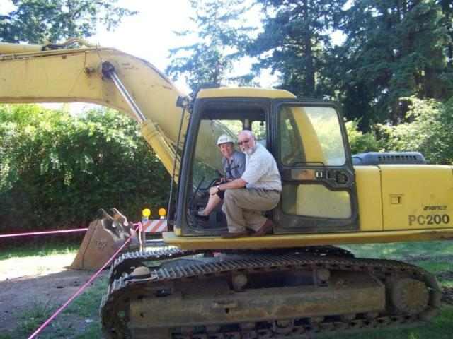Ed and Joanne Ellis hard at work breaking ground.
